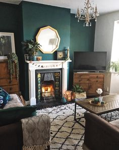 How To Use Dark Green in Your Living Room - Melanie Jade Design Dark Green Living Room, Dark Green Walls, Dark Walls, Green Living Room Ideas, Green Rooms, Terra Cotta, Room Colors, Colours, Neutral Colors