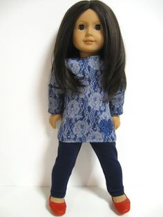 American Girl Doll Clothes Floral Denim by 123MULBERRYSTREET