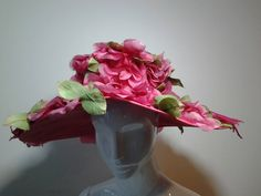 1950s Cathay Hot Pink Silk Floral Wide Brim Hat | From a collection of rare vintage hats at https://www.1stdibs.com/fashion/accessories/hats/