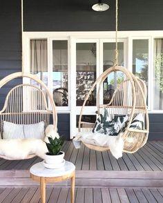 Hanging chair heaven   Boho house inspiration   Beautiful patio // @jillianduffield