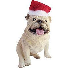 Sandicast White Bulldog with Santa Hat Christmas Ornament White Christmas Ornaments, Dog Christmas Gifts, Dog Ornaments, Christmas Stockings, Christmas Cards, White Bulldog, Animal Sculptures, Santa Hat, Mans Best Friend