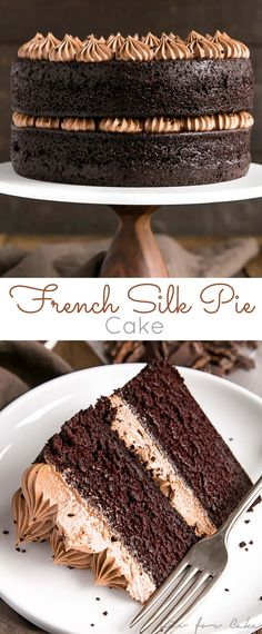 This French Silk Pie Cake is the dessert of your dreams!! Incredibly moist chocolate cake layers topped with an unbelievably silky chocolate frosting. Copycat McCain Deep'n Delicious Chocolate Cake. | livforcake.com