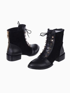 Lace Up Ankle Boots With Studs | Persunmall