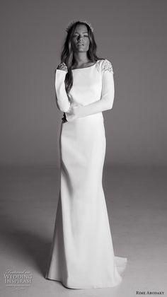 Rime Arodaky fall 2017 bridal long sleeves bateau neckline simple clean elegant sheath wedding dress keyhole back sweep train (11) mv #wedding #bridal