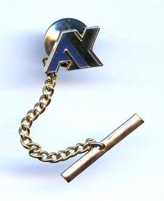"Vintage 1970s Gold Tone Blue Enamel ""AX"" Tie Tack Pin  $12.95"