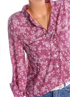 Floral V-Neckline Long Sleeve Blouses (1282077)