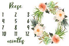Succulent Floral Wreath Baby Milestone Blanket fabric by hipkiddesigns on Spoonflower - custom fabric