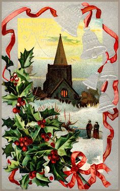 #Christmas #vintage #postcard #holly #church #1910