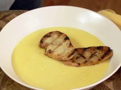 Beer Cheese Soup with Garlic Butter Crostini Recipe : Jeff Mauro : Food Network - FoodNetwork.com