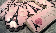 Paris cookies Kimou thought you'd love these. Fancy Cookies, Iced Cookies, Cute Cookies, Royal Icing Cookies, Sugar Cookies, Cupcakes, Cupcake Cookies, Galletas Cookies, Cookie Designs