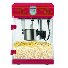 Make hot, fresh, delicious popcorn in just a few minutes with this classic Theatre Style Popcorn Maker. The unit features a pivoting kettle with a built-in stirring mechanism for even distribution and perfect popping. It can produce up to 8 cups at a time, making it a fun accessory for birthday parties, movie night, and any home entertaining.