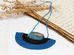 Crochet Pendant Necklace in Blue Black with Blue by PinaraDesign, $32.00
