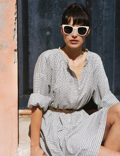 adorable belted dress and sunglasses