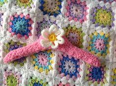 Crocheted children's coat hanger I made for Darcy