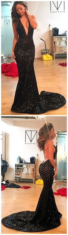 Deep V Neck Prom Dress,Sequins Prom Dress,Mermaid Prom