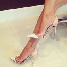 Shoespie Patchwork Patent Leather Pointed Toe Pumps