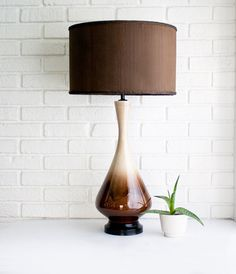 look my lamps but in brown and white...love my blue more...but I need a lampshade like this!