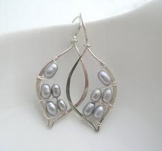 Silver Pearl Leaf Hoops by SarahHickeyJewellery on Etsy, $89.00