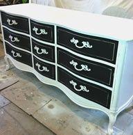 Potential Color Combo Black White Two Tone Vintage Dresser Diy For Nursery