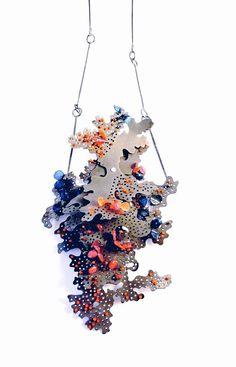 Flourish pendants No.02, Steel, oxidised silver, nylon monofilament, Carly…