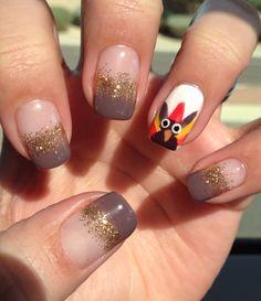 Gel nail art, turkey-thanksgiving nail art. gobble gobble