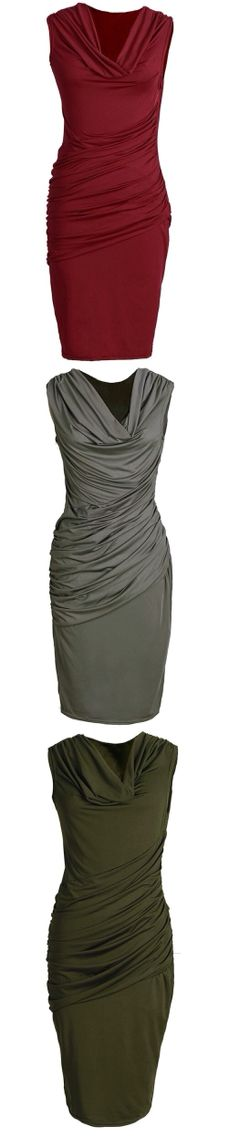 Solid colored cowl neck dresses, a staple for work wear that easily transitions into evening wear.