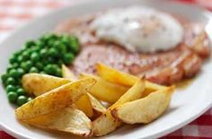 Honey mustard gammon, egg and potato wedges A great pub classic with a modern twist that can be enjoyed in the comfort of your own home. Egg Recipes, Dinner Recipes, Gammon Steak, Dinner Suggestions, Dinner Ideas, Steak And Chips, Perfect Poached Eggs, Pub Food, Gastronomia
