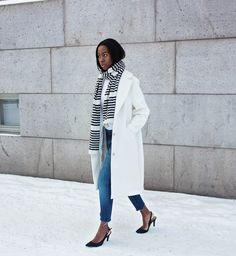 Discover this look wearing Black Slingbacks Asos Heels - STRIPES by SylvieMus styled for Chic, Other in the Winter Long White Coat, Fall Winter Outfits, Wearing Black, Style Guides, Style Me, Mom Jeans, Stripes, Street Style, Style Inspiration