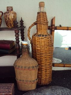 French wicker bottles