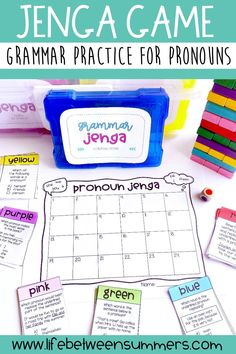 Looking for a new grammar game to help teach students about pronouns? This fun and engaging color Jenga game is perfect for spicing up literacy centers, review, or test prep. It contains questions for grammar practice with PRONOUNS (personal, possessive, indefinite, and reflexive pronouns). Game can be played in partners or a small group during readers workshop or literacy centers. It is great for early finishers or morning work as well.
