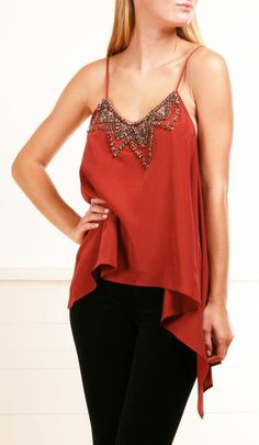 Red Silk Embellished Tank.