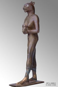 Gilded bronze of Bastet,Period:  Egypt, 3rd Intermediate Period, Dynasty 22, Osorkon II/Usermaatre-Setepenamun   Dating:  874 BC–850 BC   Origin:  Egypt, Lower Egypt, Bubastis   Material:  Bronze