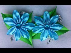 Цветок на заколку Кунзаши/Голубой цветок Канзаши - YouTube