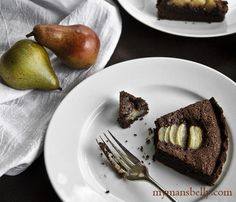 California Grown pears in a chocolate hazelnut pear frangipane tart. Oh my god I just died. I just want to eat this now!