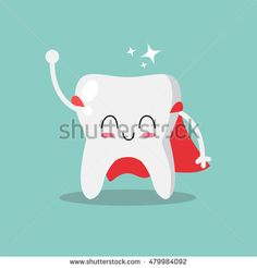 Cute, smiling and happy tooth super hero. Teeth care and hygiene concept. Vector illustration.
