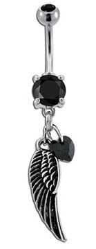 Black Angel Wing Belly Button Ring