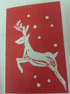 Christmas card - linocut -Red Deer Christmas Blocks, Christmas Cards To Make, Xmas Cards, Christmas Projects, Christmas Crafts, Christmas Ideas, Christmas Decorations, Christmas Tree, Christmas Graphic Design