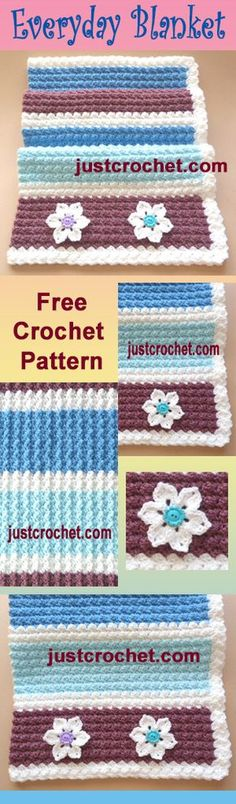 Free crochet pattern for everyday baby blanket. #crochet