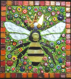 Queen Bee. Stained glass, beads, millefiori glass. Jane E. Ward. beehive studio. 2014