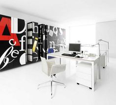 Cool wall graphics with all white fitout. Letters