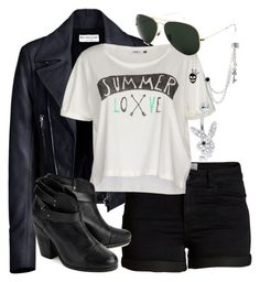 """B&W Outfit"" by deedee-pekarikhihiha ❤ liked on Polyvore featuring Balenciaga, Pieces, ONLY, rag & bone, Ray-Ban, Betsey Johnson and blackandwhite"