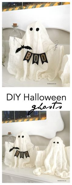 Halloween Costumes | Create some fun DIY Halloween Ghosts for your Halloween Decor or Halloween Party this year.  Easy Halloween craft tutorial made out of cheese cloth.