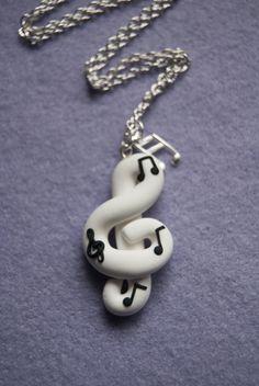 Collana Chiave di Violino con note in fimo (bianco)