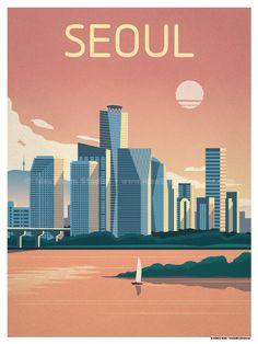 Seoul Poster by IdeaStorm Studios, South Korea Travel, Tourism Poster, Travel Illustration, Art Graphique, Vintage Travel Posters, Vintage Ski, Poster Prints, Around The Worlds, Instagram