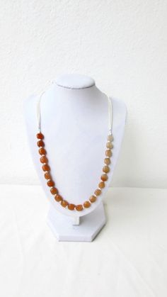Carnelian necklace bead and chain necklace by KimsHandmadeCave