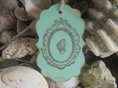 Hand Made Hand Stamped Beach Shell Gift Tags by RubysPlaceInTime, $4.25