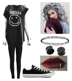 """Black ♥"" by dadyrabbit on Polyvore featuring Converse, outfit and black"