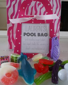 """pool bag"" candy favor for a pool party"