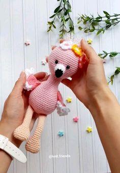 Crochet pattern flamingo, Amigurumi flamingo crochet pattern, pink crochet flamingo, stuffed toy flamingo, easy crochet pattern in English amigurumi boneca grafico Crochet Bird Patterns, Crochet Birds, Cute Crochet, Amigurumi Patterns, Amigurumi Doll, Crochet Dolls, Crochet Flowers, Knitting Patterns, Crochet Flamingo