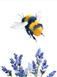 Bumblebee by Maria Stezhko. You can pet thesen Bumblebee by Maria Stezhko. Watercolor Paintings For Beginners, Art Watercolor, Watercolor Animals, Watercolor Illustration, Watercolor Flowers, Simple Watercolor, Watercolor Landscape, Watercolor Techniques, Watercolor Background